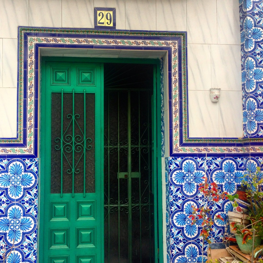 Tiled entryway on a Sevillian home.