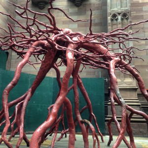 bronze root sculpture from a tree blown over on 9/11
